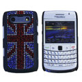 Bling British flag crystals cases diamond covers for Blackberry 9700 - Red