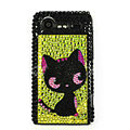Bling Cat crystals cases diamond covers for HTC Incredible S S710e G11 - Yellow