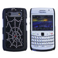 Bling Cobweb crystals cases diamond covers for Blackberry 9700 - Black