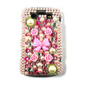 Bling Flower bowknot crystals cases diamonds covers for Blackberry 9700 - Pink