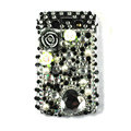Bling Flower crystals cases diamonds covers for Blackberry 9700 - Black