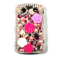 Bling Flower crystals cases diamonds covers for Blackberry 9700 - Pink