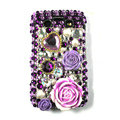 Bling Flower crystals cases diamonds covers for Blackberry 9700 - Purple
