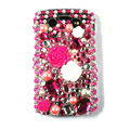 Bling Flower crystals cases diamonds covers for Blackberry 9700 - Red