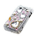 Bling Flower crystals cases diamonds covers for Blackberry Bold 9700 - White
