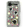 Bling Heart 3D crystals cases diamond covers for HTC Incredible S S710e G11 - White
