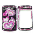 Bling Heart crystals cases diamond covers for Blackberry Bold 9700 - Rose
