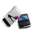 Bling High-heeled shoes crystals cases diamond covers for Blackberry Bold 9700 - White