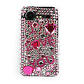 Bling I love you crystals cases diamond covers for HTC Incredible S S710e G11 - Pink