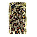 Bling Leopard crystals cases diamond covers for HTC Incredible S S710e G11 - Brown