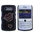 Bling Lips crystals cases diamond covers for Blackberry 9700 - Black