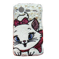 Bling Mary cat crystals cases pearl covers for HTC Incredible S S710e G11 - White