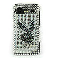 Bling Playboy crystals cases diamond covers for HTC Incredible S S710e G11 - White