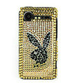 Bling Playboy crystals cases diamond covers for HTC Incredible S S710e G11 - Yellow