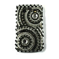 Bling Round crystals cases diamonds covers for Blackberry 9700 - Black