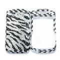 Bling Zebra crystals cases diamond covers for Blackberry Bold 9700 - White