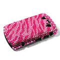 Bling Zebra crystals cases diamonds covers for Blackberry Bold 9700 - Pink