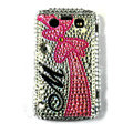 Bling bowknot crystals cases diamonds covers for Blackberry 9700 - Red