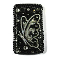 Bling butterfly crystals cases diamonds covers for Blackberry 9700 - Black