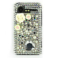 Bling flower 3D crystals cases diamond covers for HTC Incredible S S710e G11 - White