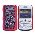 Bling heart crystals cases diamond covers for Blackberry 9700 - Red