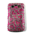 Bling heart crystals cases diamonds covers for Blackberry 9700 - Red