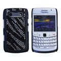 Bling zebra crystals cases diamond covers for Blackberry 9700 - Black