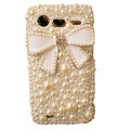 Bowknot bling crystals diamonds cases pearl covers for HTC Incredible S S710e G11 - White