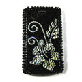 Flower bling crystals cases diamonds covers for Blackberry 9700 - Black
