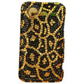 Leopard bling crystals diamonds cases covers for HTC Incredible S S710e G11 - Yellow