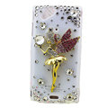 Bling Angel crystals cases diamond covers for Sony Ericsson Xperia Arc LT15I X12 LT18i - White