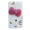 Bling Bowknot crystals cases Pearl covers for Sony Ericsson Xperia Arc LT15I X12 LT18i - Rose