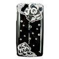 Bling Camellia crystals cases diamond covers for Sony Ericsson Xperia Arc LT15I X12 LT18i - Black