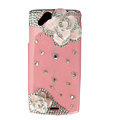Bling Camellia crystals cases diamond covers for Sony Ericsson Xperia Arc LT15I X12 LT18i - Pink