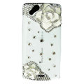 Bling Camellia crystals cases diamond covers for Sony Ericsson Xperia Arc LT15I X12 LT18i - White