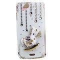Bling Carousel crystals cases covers for Sony Ericsson Xperia Arc LT15I X12 LT18i - White