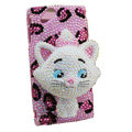 Bling Cat Leopard crystals cases covers for Sony Ericsson Xperia Arc LT15I X12 LT18i - Pink