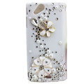 Bling Flower crystals cases Pearl covers for Sony Ericsson Xperia Arc LT15I X12 LT18i - White