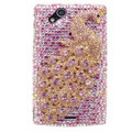 Bling Peacock crystals cases covers for Sony Ericsson Xperia Arc LT15I X12 LT18i - Pink