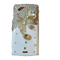 Bling bowknot covers crystals cases for Sony Ericsson Xperia Arc LT15I X12 LT18i - White