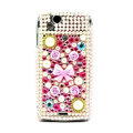 Bowknot bling crystals cases covers for Sony Ericsson Xperia Arc LT15I X12 LT18i - Pink