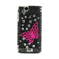 Butterfly bling crystals cases diamond covers for Sony Ericsson Xperia Arc LT15I X12 LT18i - Black