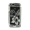 Flower bling crystals cases covers for Sony Ericsson Xperia Arc LT15I X12 LT18i - Black