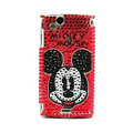 Mickey bling crystals cases covers for Sony Ericsson Xperia Arc LT15I X12 LT18i - Red