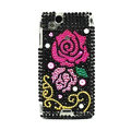 Rose bling crystals cases covers for Sony Ericsson Xperia Arc LT15I X12 LT18i - Black