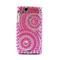 Round bling crystals cases covers for Sony Ericsson Xperia Arc LT15I X12 LT18i - Pink
