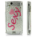 Sexy bling crystals cases covers for Sony Ericsson Xperia Arc LT15I X12 LT18i - White