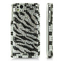 Zebra bling crystals cases covers for Sony Ericsson Xperia Arc LT15I X12 LT18i - Black