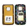 LV Louis Vuitton Luxury leather Cases Holster Covers for Nokia E5 - Black