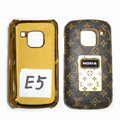 LV Louis Vuitton Luxury leather Cases Holster Covers for Nokia E5 - Brown